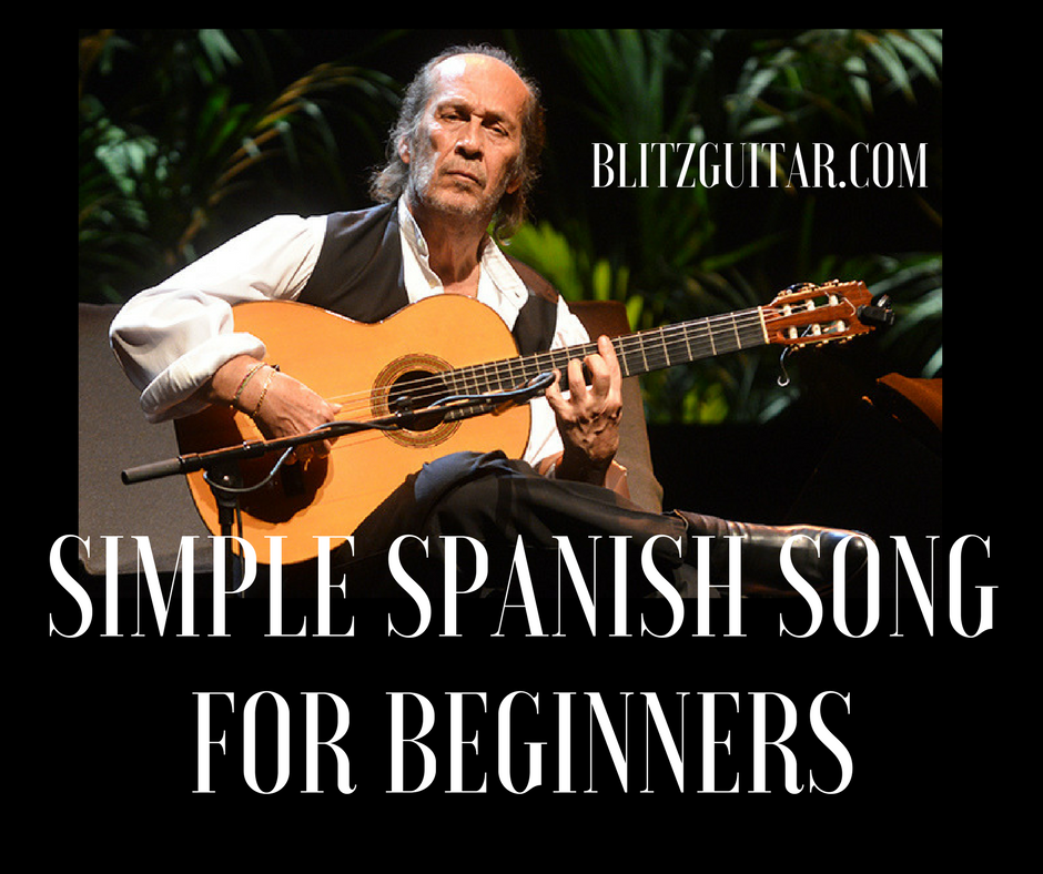 simple spanish song for beginners on acoustic guitar tab available blitzguitar online. Black Bedroom Furniture Sets. Home Design Ideas