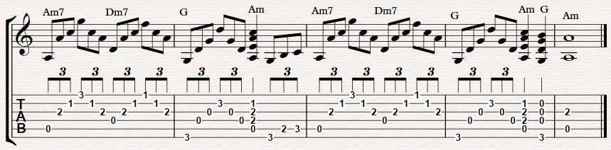 Am7 Dm7 G Am7 Guitar Chord Progression Fingerstyle Guitar Lessons When you see an am chord, try to play an am7. am7 dm7 g am7 guitar chord